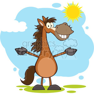 Smiling Horse Cartoon Mascot Character With Open Arms Over Landscape clipart. Royalty-free image # 393094