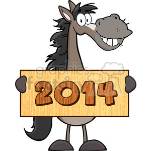 6884_Royalty_Free_Clip_Art_Grey_Horse_Cartoon_Mascot_Character_Holding_A_Banner_With_Text clipart. Royalty-free image # 393104