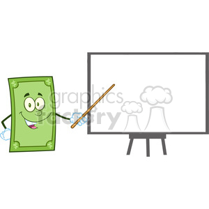 6853_Royalty_Free_Clip_Art_Smiling_Dollar_Cartoon_Character_With_Pointer_Presenting_On_A_Board clipart. Royalty-free image # 393134