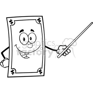 6851_Royalty_Free_Clip_Art_Black_and_White_Dollar_Cartoon_Character_With_Pointer_Presenting clipart. Royalty-free image # 393144