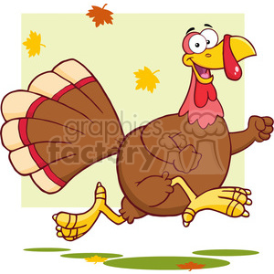 6953 Royalty Free RF Clipart Illustration Happy Turkey Bird Cartoon Character Running clipart. Royalty-free image # 393156