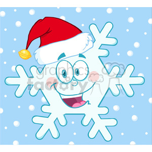 6965 Royalty Free RF Clipart Illustration Smiling Snowflake Cartoon Mascot Character With Santa Hat clipart. Royalty-free image # 393166