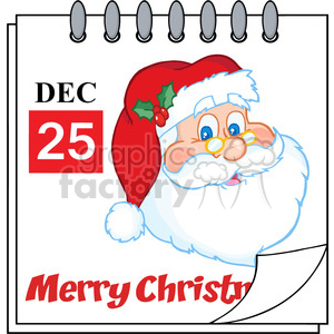 Royalty Free RF Clipart Illustration Christmas Holiday Calendar With Classic Santa Claus Head clipart. Royalty-free image # 393176