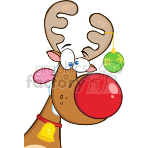 Royalty Free RF Clipart Illustration Crazy Reindeer With Christmas Ball clipart. Royalty-free image # 393189