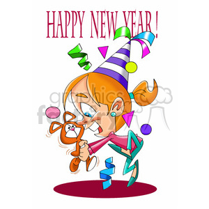 black and white cartoon girl new years party clipart. Commercial use image # 393364