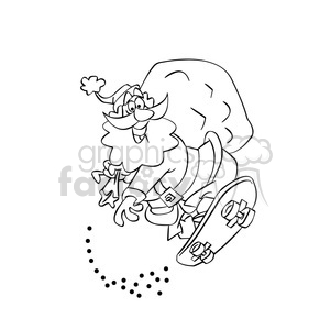 santa claus riding a skateboard merry christmas outline clipart. Commercial use image # 393374