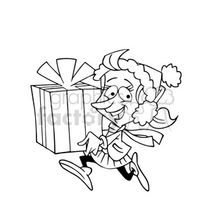 girl running with gifts black white clipart. Commercial use image # 393404