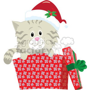 christmas cartoon characters holidays cat gift present