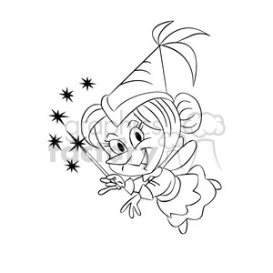 cartoon fairy black white clipart. Commercial use image # 393432