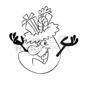 Black And White Christmas Stockings.Cartoon Christmas Stocking Character Black White Clipart Royalty Free Clipart 393492