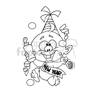 baby new year cartoon character black white