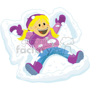 winter fun kid making a snow angel clipart. Royalty-free image # 393532