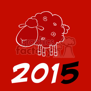Royalty Free Clipart Illustration Happy New Year Of The Sheep 2015 Design Card With Black Number clipart. Commercial use image # 393582