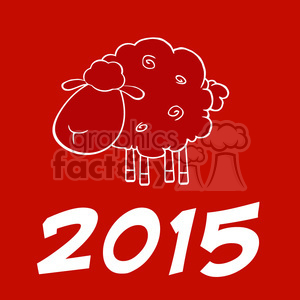 Royalty Free Clipart Illustration Happy New Year Of The Sheep 2015 Design Card clipart. Commercial use image # 393592