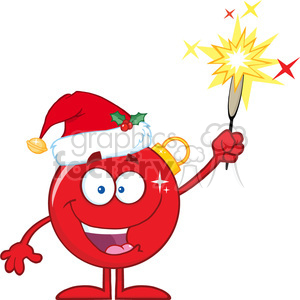 Christmas Giving Clipart.Happy Red Christmas Ball Cartoon Character Giving A Fireworks Clipart Royalty Free Clipart 393602