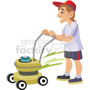 male cutting the grass clipart. Commercial use image # 393619