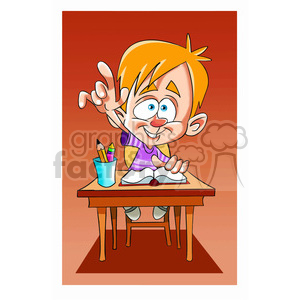 vector child in class raising his hand clipart. Royalty-free image # 393663