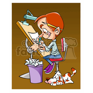 vector cartoon cartoonist drawing clipart. Commercial use image # 393683