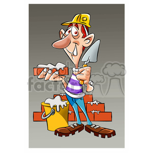 vector Bricklayer mason character clipart. Commercial use image # 393733