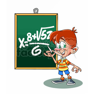 vector cartoon child in math class school clipart. Commercial use image # 393753