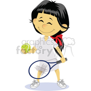 cartoon girl tennis player clip art image clipart. Royalty-free image # 393877