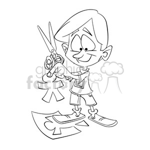 black and white image of boy cutting paper people tijeras negro clipart. Commercial use image # 393913
