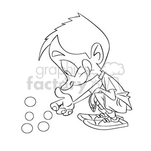 black and white image of boy playing marbles nino jugando canicas negro clipart. Royalty-free image # 393923