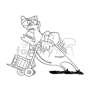 black white image of man struggling with a moving dolly clipart. Commercial use image # 393993