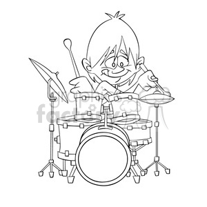 black and white image of boy playing drums nino tocando bateria negro clipart. Commercial use image # 394023