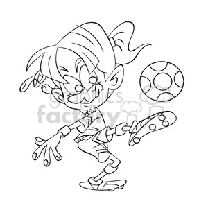 black and white image of female kid playing soccer futbol femenino negro clipart. Royalty-free image # 394043