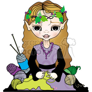 Elf Girl Knitting Crocheting clipart. Royalty-free image # 394083