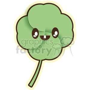 Clover cartoon character illustration clipart. Royalty-free image # 394113