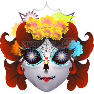 Day of the Dead mask illustration on white clipart. Commercial use image # 394183