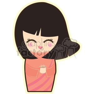 geisha tea cartoon character illustration