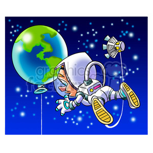 astronaut viewing earth as huge balloon clipart. Commercial use image # 394233