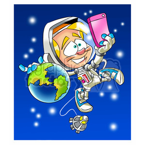astronaut taking a selfi in space with earth clipart. Royalty-free image # 394248