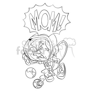 astronaut crying for his mommy in black and white clipart. Commercial use image # 394268