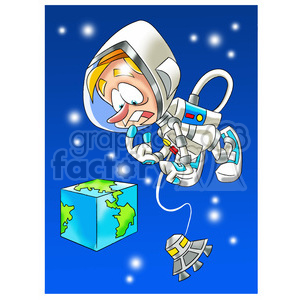 astronaut viewing earth as a square clipart. Commercial use image # 394274