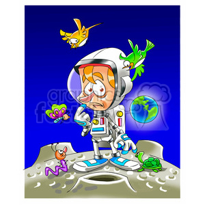astronaut on a strange planet clipart. Commercial use image # 394284