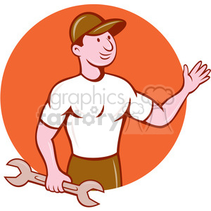 mechanic waving front CIRC clipart. Commercial use image # 394344