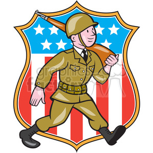 world war two american soldier marching rifle SHIELD clipart. Royalty-free image # 394354