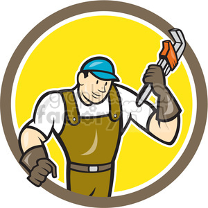 super plumber wrench standing CIRC clipart. Royalty-free image # 394364