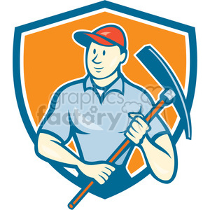 construction worker pickaxe SHIELD clipart. Royalty-free image # 394394