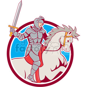 knight rider horse sword side CIRC clipart. Commercial use image # 394404