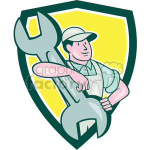 mechanic carrying spanner SHIELD clipart. Commercial use image # 394414
