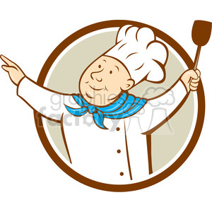 chef arm out hold spatula CIRC clipart. Commercial use image # 394464