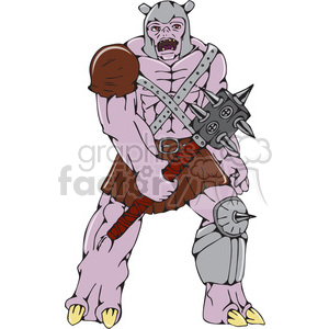 warrior monster hold club CARTOON