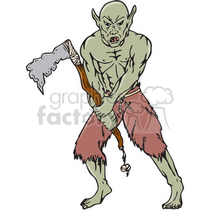 warrior orc tomahawk frnt CARTOON clipart. Commercial use image # 394484