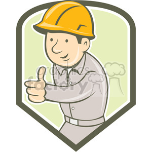 builder construction worker thumbs up SHIELD clipart. Royalty-free image # 394494