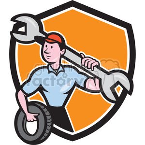 mechanic spanner tyre front SHIELD clipart. Commercial use image # 394504